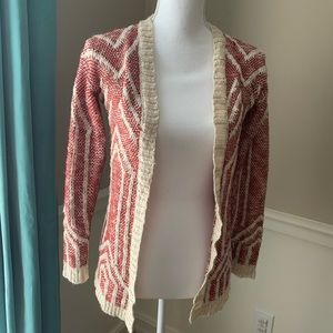 Wet Seal Open Front Long Sleeve Cardigan Red XS